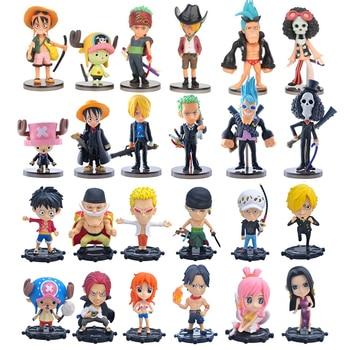 6pcs/lot Anime One Piece Luffy Ace Sanji Nami Zoro Chopper Frank Robin Hancock PVC Action Figure Collectible Model Christmas Toy недорого