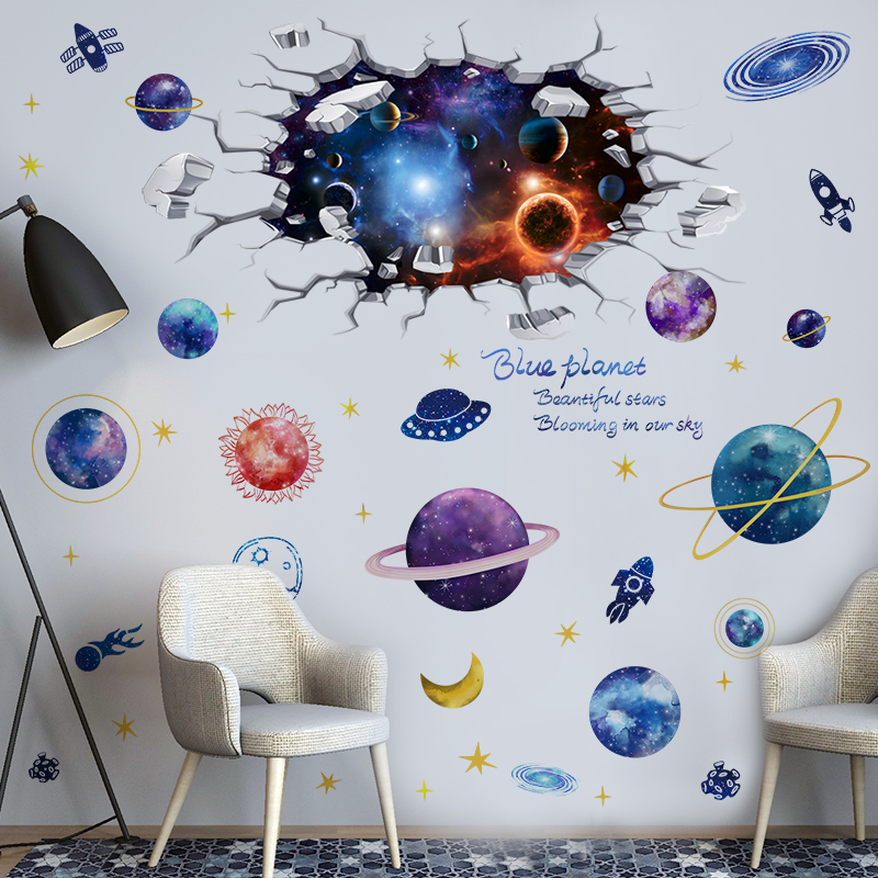 [shijuekongjian] Universe Celestial Body Wall Stickers DIY Planets Mural Decals for Kids Rooms Nursery Floor Ceiling Decoration