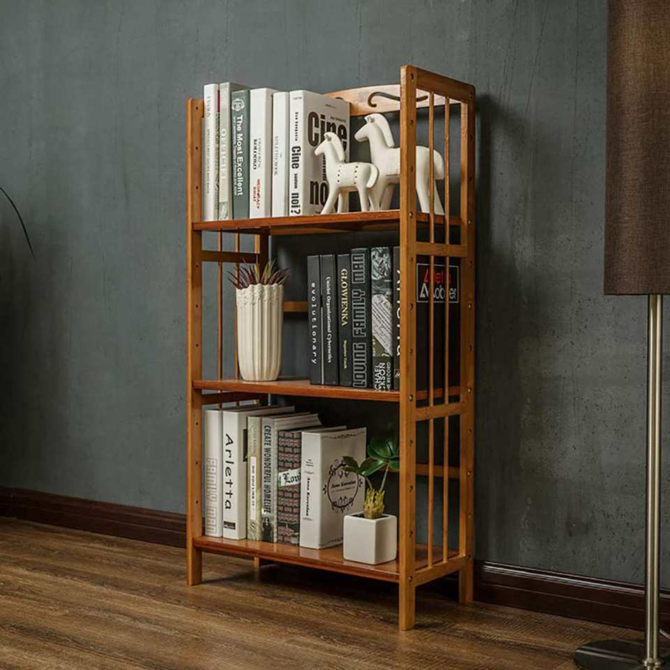 Size : Four floors Bookcase Modern Bamboo Bookshelf Simple Home Floor Stand Living Room Office Display Cabinet Student Study Bookcase Creative Bookshelf
