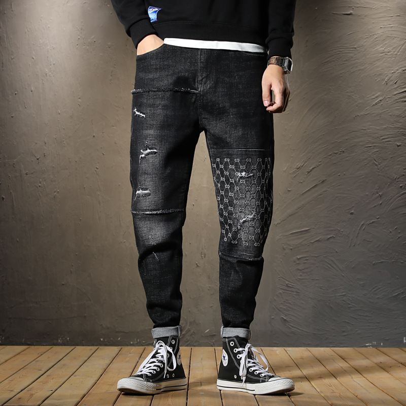 With Holes Jeans MEN'S Black Loose Harem Pants Autumn New Style Elasticity Embroidered Casual Stitching Skinny Trousers