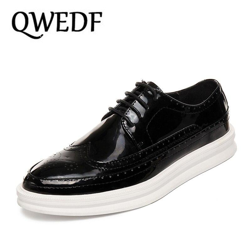 QWEDF 2019 en cuir véritable hommes chaussures d'affaires Oxfords hommes chaussures décontractées en cuir de vache chaussures pour homme masculino adulto X10 87