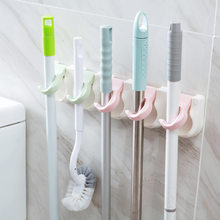 Plastic Mop Rack Multi-functional Hole Punched Hook Adhesive Hook Toilet Broom Holder Rugged Simple Home Storage(China)