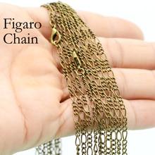 цена на 50 x Antique Bronze Figaro Chain Necklace, Bronze Figaro Necklace, 18 24 Inches Bronze Necklace, Antique Bronze Chain Necklace