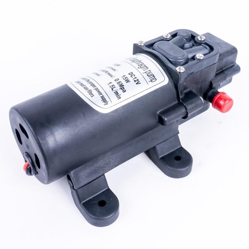 DC 12 В 0.6Mpa 1.5L/мин 15 Вт Электрический высокого давления самовсасывающий маленький водяной насос мембранный насос мини-инструмент для караван...