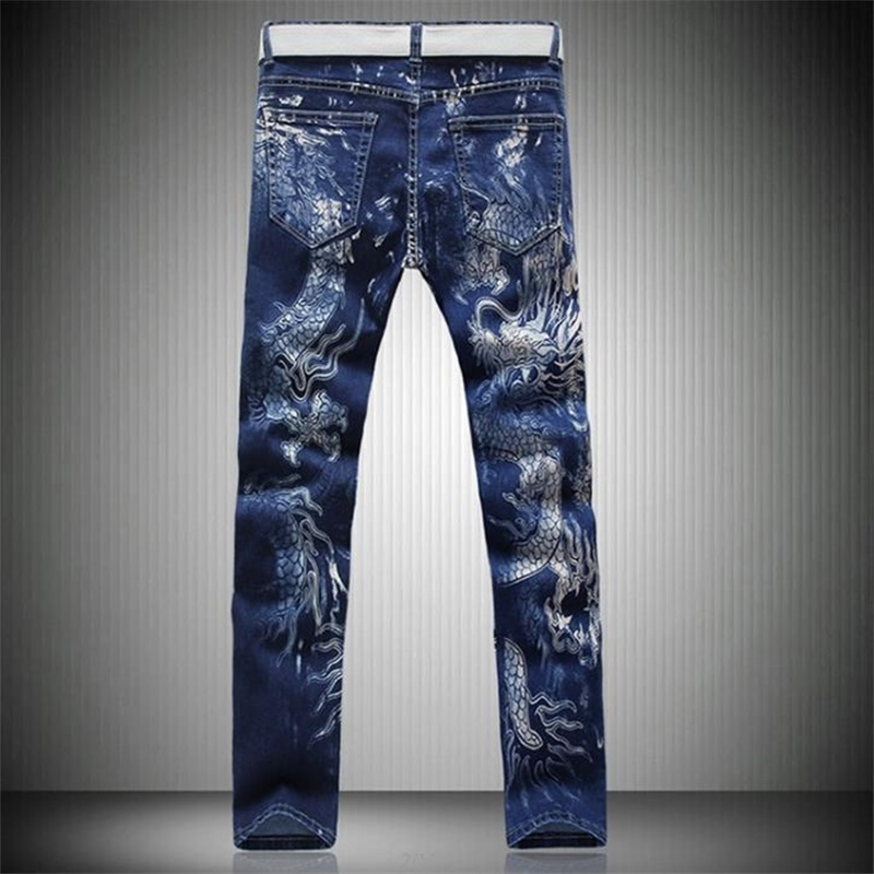 New Young Men Jeans Personality Splash-ink Jeans Men Color Printed Skinny Jeans Design Korean Style Men Pants #Y028