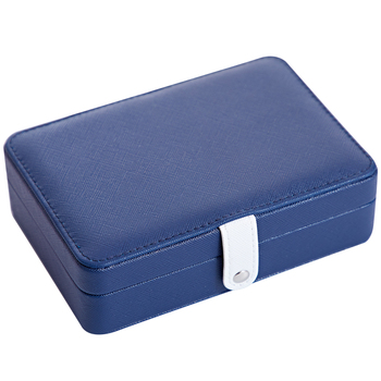 Portable multi-function PU leather jewelry box fresh and simple earrings ring multi-function jewelry storage box simple leather square jewelry storage box portable travel multi soft jewelry box earrings ring storage finishing