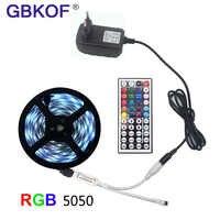 LED bande lumineuse RGB 5050 SMD 2835 ruban Flexible fita lumière LED bande RGB 5M 10M 15M bande Diode DC 12V + télécommande + adaptateur