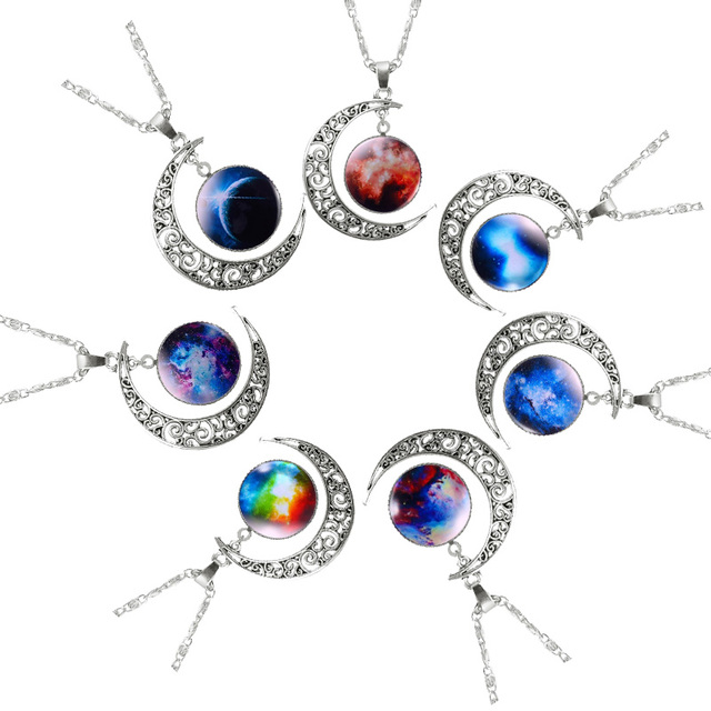 FNIO Hot Fashion Jewelry Choker Necklace Glass Galaxy Lovely Pendant Silver Color Chain Moon Necklace Jewelry Gift Accessories Jewellery & Watches Women's Fashion