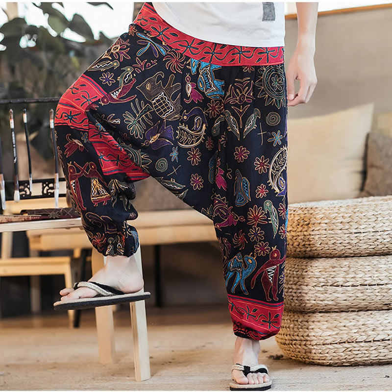 Mens Loose Harem Pants Dragon Print Drop Crotch Trousers Yoga Hip Hop Retro