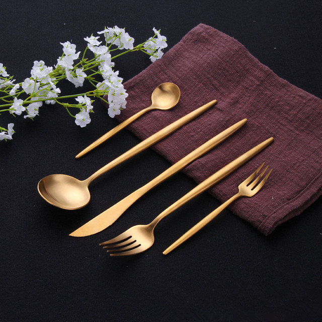 Juego de cubiertos de oro 304, juego de cubiertos de acero inoxidable, palillos, cuchillo de mantequilla, postre, cuchara para cenas, tenedor, té, cuchara de hielo, juego de vajilla