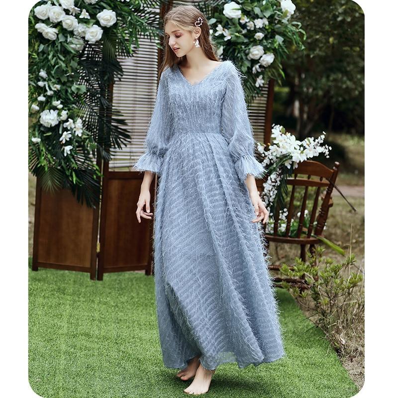 Купить с кэшбэком It's Yiiya Bridesmaid Dress Boat Neck Blue Feathers Long Bridesmaid Dresses For Girls Elegant Party Vestido Madrinha LF233