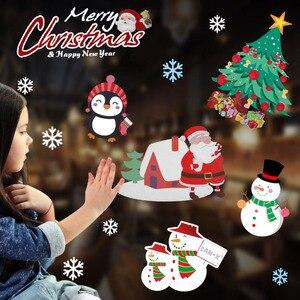 Счастливого Рождества наклейки на стену милый Санта Клаус Снежинка Лось Окно Стекло наклейки на новый год 2021 рождественские вечерние насте...