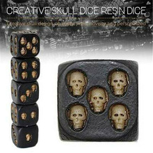 5 piezas de cráneo tallado en dados, juguetes de resina