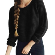 Autumn Winter Fashion Solid Knitted Women's Sweater Round Neck Long Sleeve Hem Slit Pullover Women Casual Crop Sweater Jumpers raw hem geo pattern crop sweater