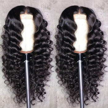 Aircabin 30 Inch 13x4 Lace Front Wigs Loose Deep Wave Brazilian Natural Color Remy Human Hair T Part Lace Wig For Black Women