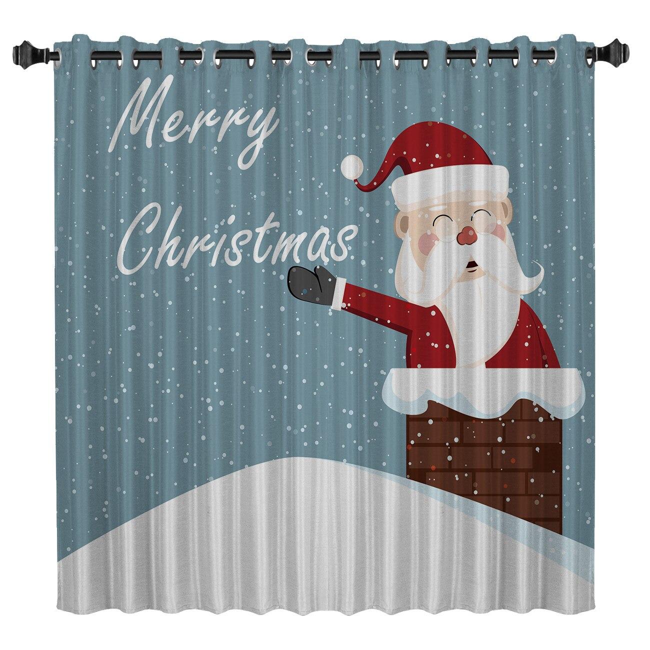 Merry Christmas Santa Window Treatments Curtains Valance Window Blinds Bathroom Bedroom Fabric Kids Curtain Panels With Grommets
