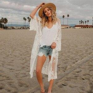 Image 3 - 2020 תחרה החוף לחפות Pareo חוף כיסוי למעלה Playa Pareo טוניקות עבור החוף בגדי ים נשים תחרה חוף שמלה # Q649