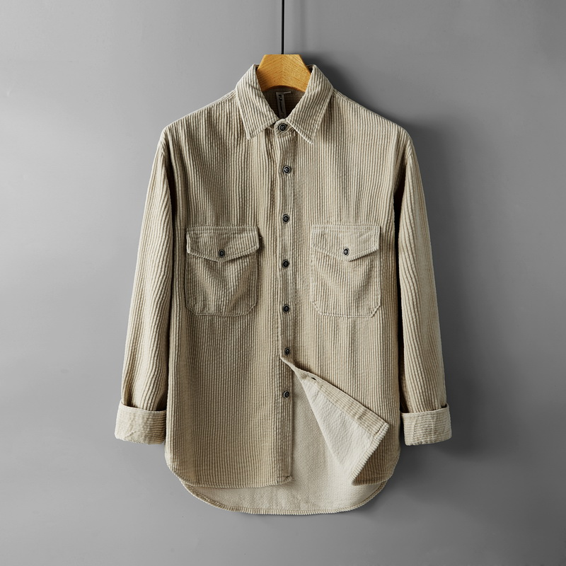 2019 Autumn corduroy long-sleeved shirt men brand solid beige shirts for men trend mens shirt male fashion tops chemise camisa