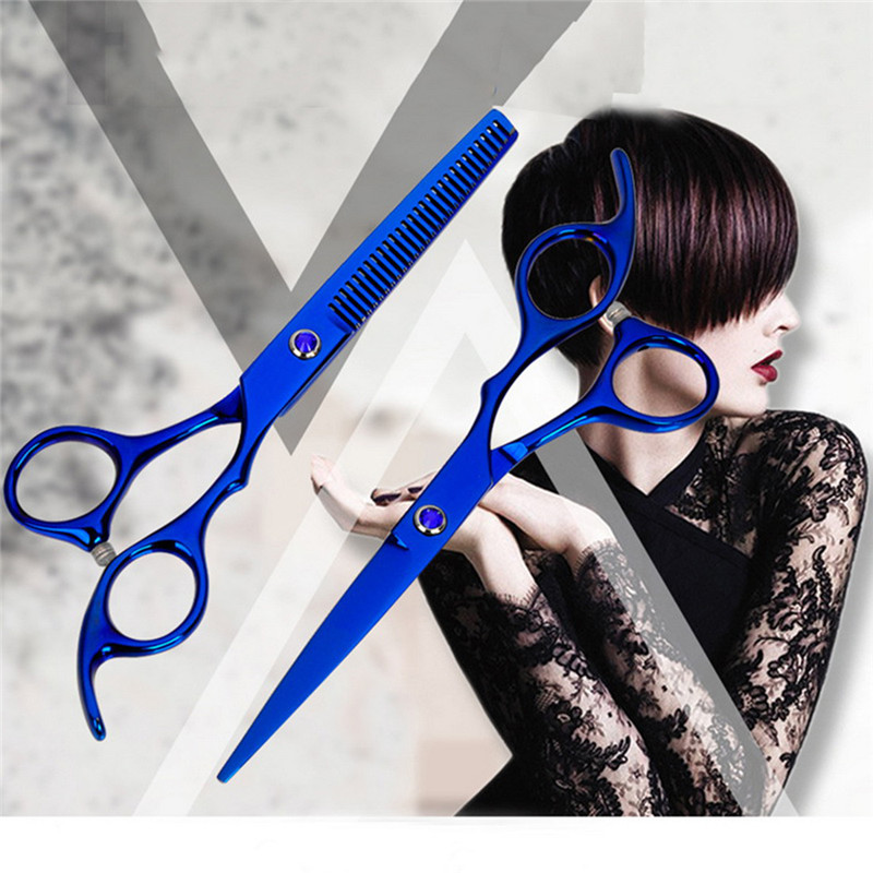 Professional 6.0 Inch 4cr Barber Hairdressing Scissors Thin Shear Flat Shears Beauty Set Color Pure Black Hairdressing Scissors