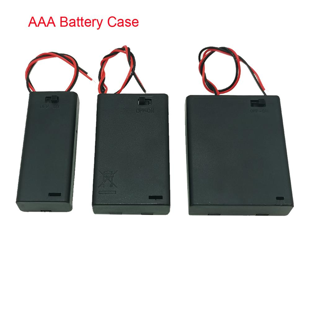 1 Pcs AAA Battery Holder Case Box With Leads With ON/OFF Switch Cover 2 3 4 Slot Standard Battery Container Drop Shipping
