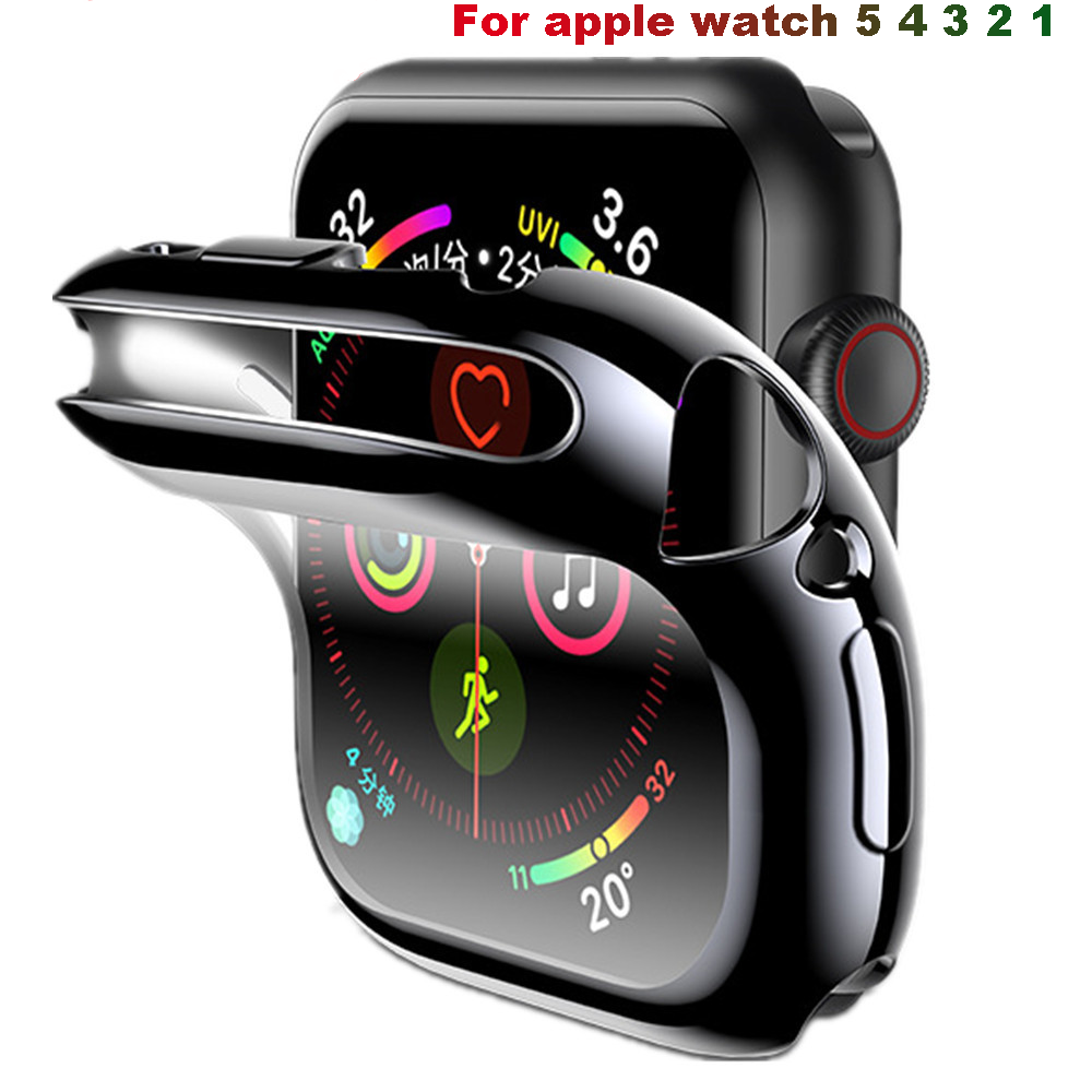 Cover <font><b>Case</b></font> For Apple <font><b>Watch</b></font> band 44mm/40mm apple <font><b>watch</b></font> 5 4 3 band <font><b>42mm</b></font>/38mm iwatch screen protector silicone protective bumper image