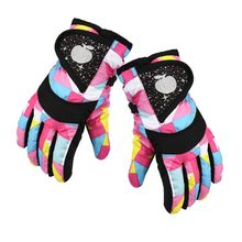 Waterproof Winter Skiing Snowboarding Gloves Warm Mittens For Kids Full-Finger Gloves Strap for Sports Skiing Cycling AXYA cheap NYLON Taslan+ Warp knitting velvet+nylon geometric Baby Gloves Mittens Unisex AXYA7HH102214-2 Suitable for 3~7 years old children