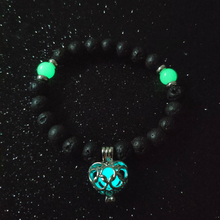 Natural Volcanic Stone Beaded Luminous Heart Charm Bracelet Women Party Glowing In The Dark Bracelets Jeweley Accesories