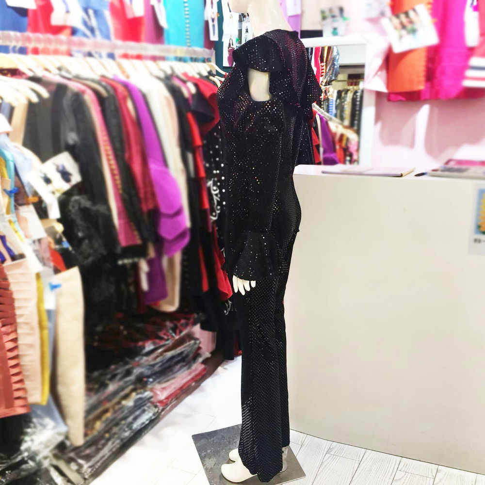 Meqeiss Đen Đầm Jumpsuit Nữ Dài Tay Lấp Lánh Ôm Body Áo Liền Quần Gợi Cảm Rompers Lấp Lánh Câu Lạc Bộ Đảng Liền Quần Áo Liền Quần