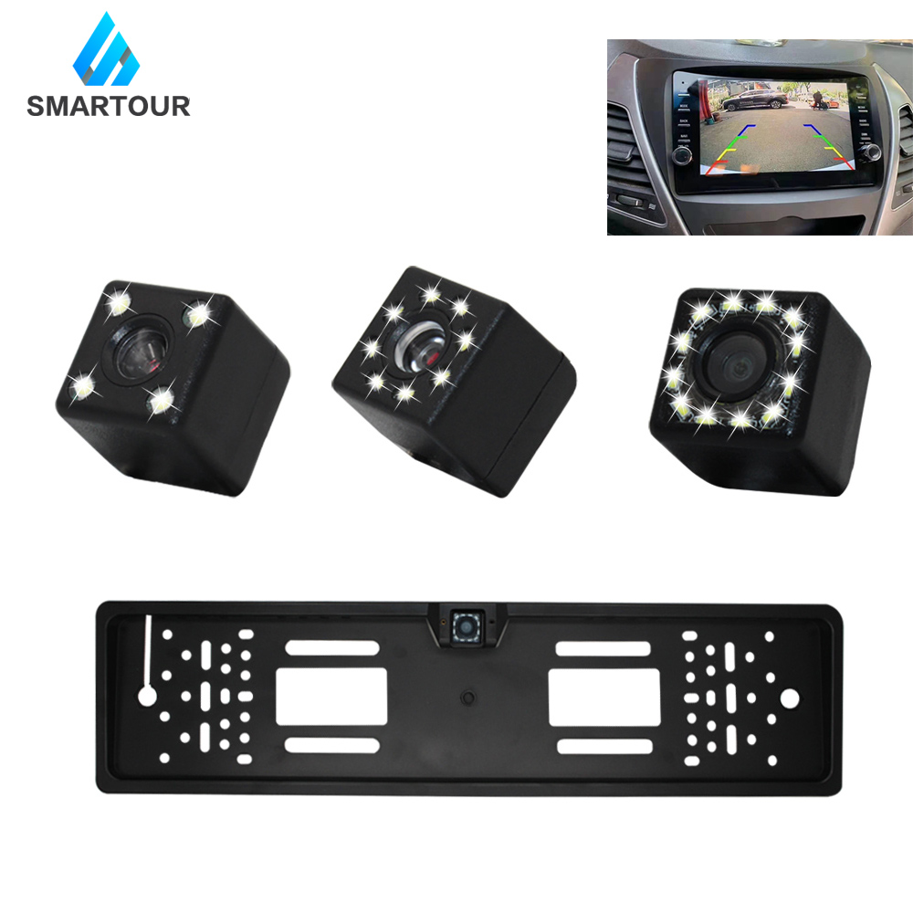 Smartour European Car Number License Plate Frame Rear View Camera 4 LEDs Night Vision Reverse Backup Parking Rearview Cam Auto