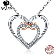 BISAER 925 Sterling Silver Infinity Love Forever Heart Pendant Necklace Women Sterling Silver Jewelry Valentine Day Gift GXN121 bisaer authentic 925 sterling silver gold color mosaic red cz heart pendant necklace for women valentine s gifts jewelry gan014