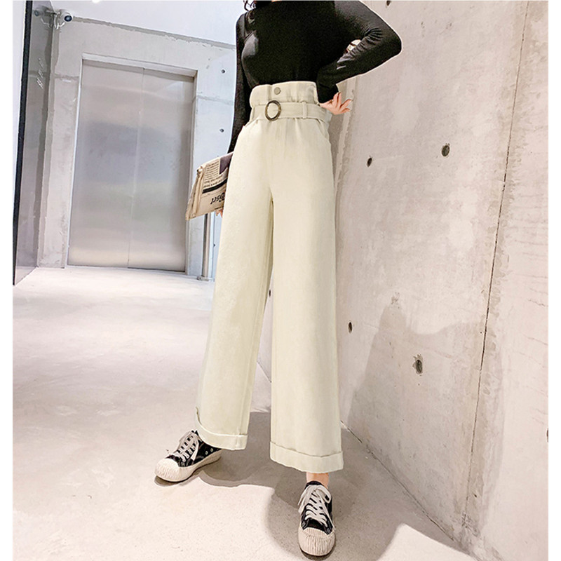 JUJULAND Loose Vintage Woman Jeans Autumn Bleached Casual Boyfriend Curl Denim   Wide     Leg     Pants   Oversize High Waist Jean 1939