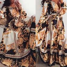 Женское винтажное платье макси с цветочным принтом длинное вечернее