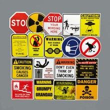 Autocollants d'avertissement de Danger, panneaux d'interdiction, étiquettes d'alerte, résistant à l'eau, décalcomanies bricolage, ordinateur portable, bagage, moto, Snowboard, voiture, 50 pièces