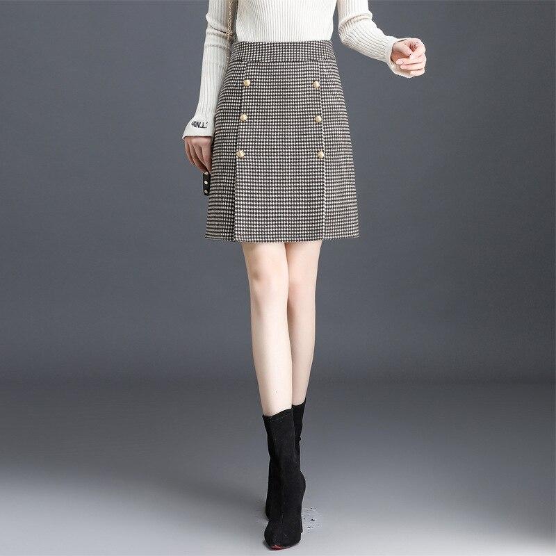 Autumn And Winter Woolen Cloth Wrapped Skirt Plaid Skirt Women's High-waisted Short Skirt Elegant Ol Slim Fit Slit Wool Straight