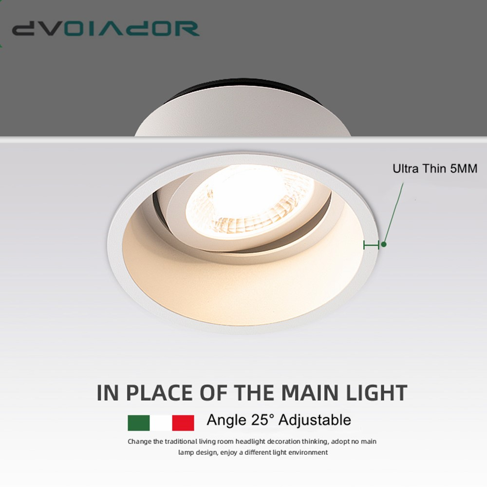 Dimmable LED Spot Light 15W 12W Anti-Glare Led Downlight Angle Adjustable Indoor Ceiling Lamp Bedroom Kitchen Led Recessed Light