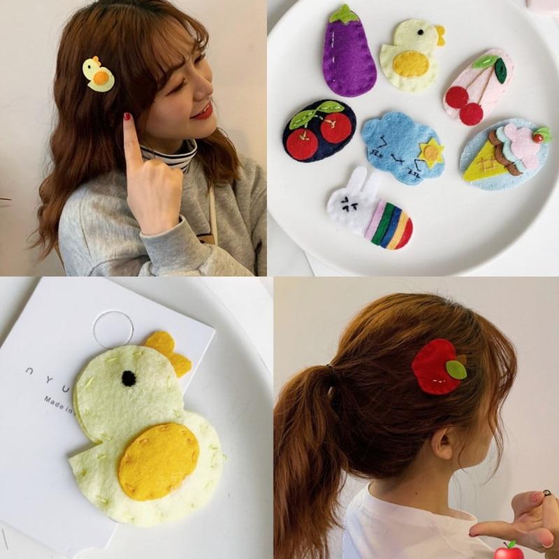 Hairpin Clip Hair-Accessories Girl Felt Heart Cute Cartoon Bang BB Fruit Strawberry 8pcs/Set