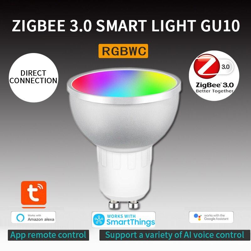 Умные Светодиодные ночные светильник пы 5 Вт RGBCW Tuya Zigbee 3,0 Gu10, лампы для умного дома с дистанционным голосовым управлением через приложение, р...