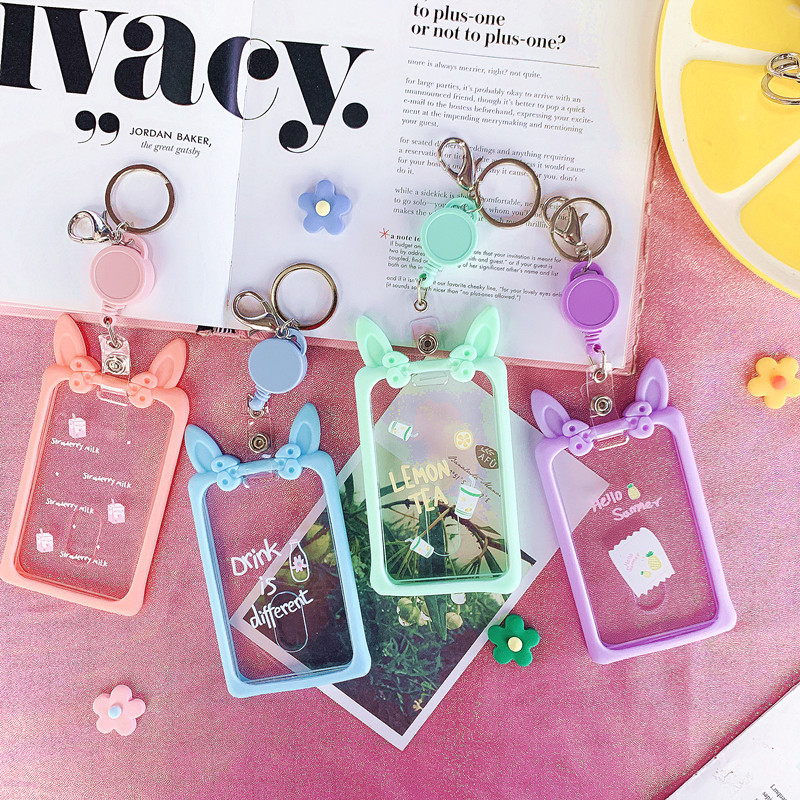 Rabbit Eared Transparent Card Holder Mobile Phone Lanyard Elastic Buckle Card Holder Women's Mobile Phone Charm Pendant Ornament