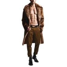 Faux Leather Men Basic Jacket Winter Warm Imitation Fashion Faux Fur Long Sectio