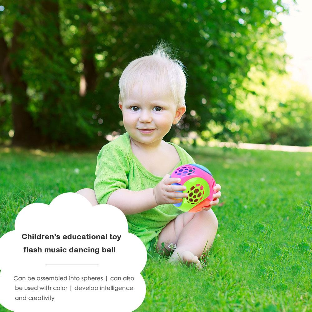 Children Music Light-Up Puzzle Ball Creative DIY Assemble Blocks Flashing Toys Exercise Imagination And Logical Thinking