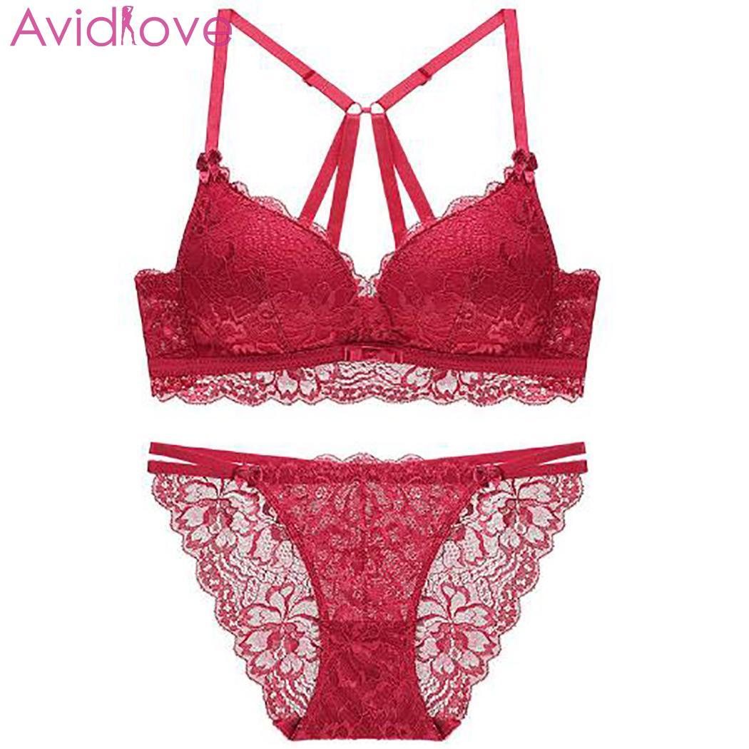 Women Fashion V Neck Lingerie Bra Normal Strap Briefs All Seasons Low Push Back Wireless Lace Underwear Set