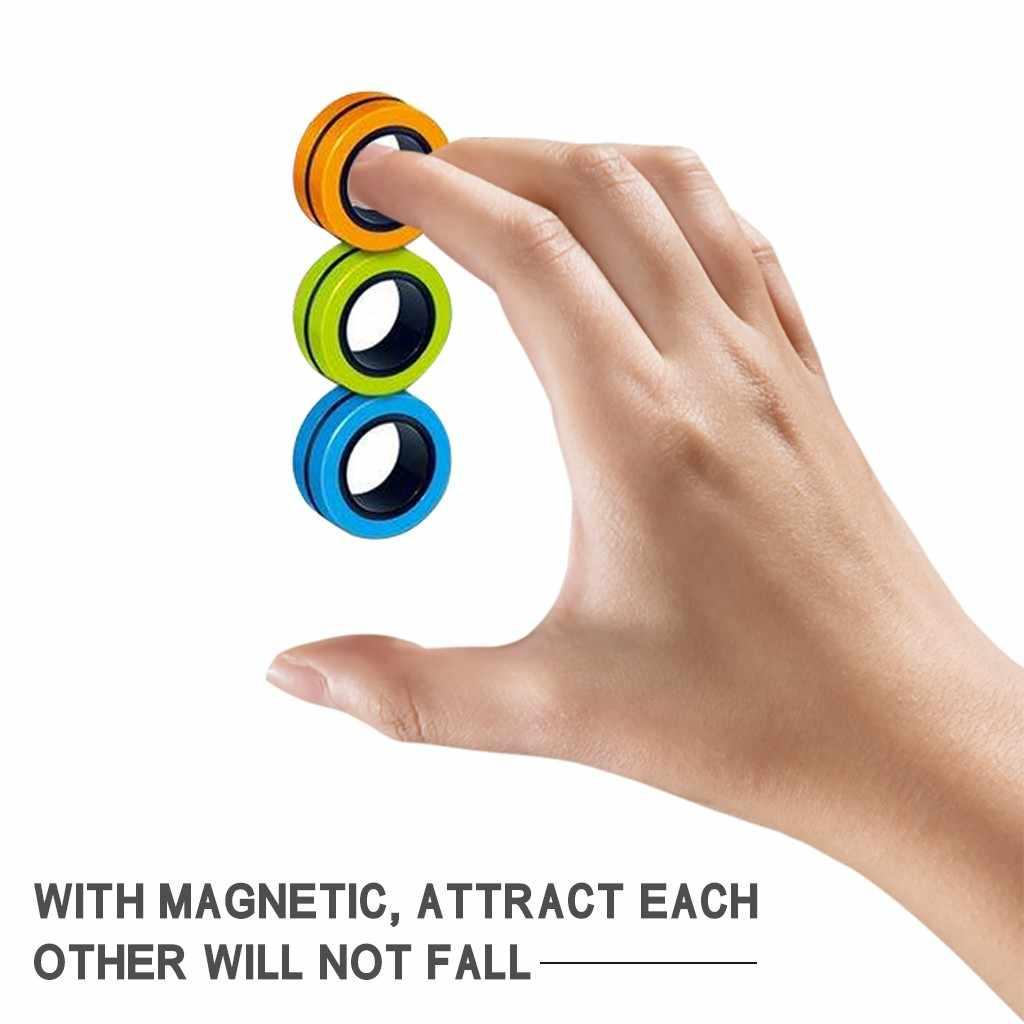 Anillo magnético para pulsera de dedo, juguete para descomprimir, anillo de utilería mágico, Juguetes Divertidos de fiesta para niños