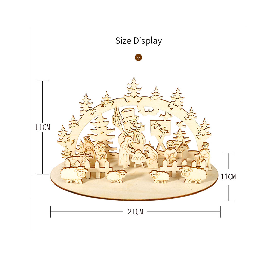 DIY Christmas Wooden Toy Xmas Funny Party Desktop Decoration Christmas Wooden Ornaments Three-dimensional Kids Toy Decoration 18