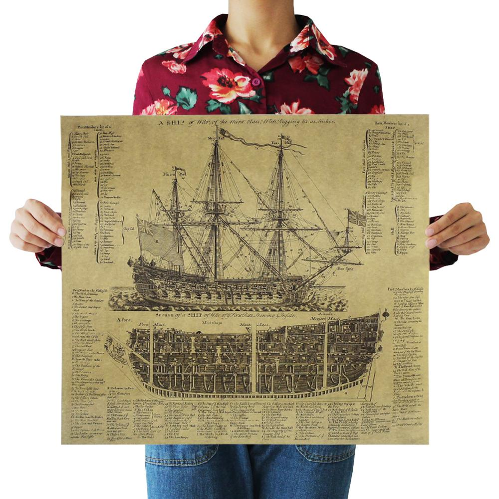 Sailing Series Kraft Paper Poster Livingroom Bedroom Home Decor Retro Character Landscape Wall Sticker