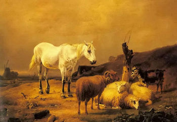 Oil painting eugene verboeckhoven horse sheep and goat in landscape in dusk art