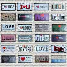 love New York Metal Plate Beach Tin Sign Wall Bar Pub Garage Coffee Home Art Vintage  Decor 30X15CM CH-0097 biomaserk1 ctg 003 bla gol tattoo machine kit intelligent digital tattoo permanent makeup machine kit device swiss motor set