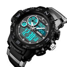 цена на SKMEI 1332 Fashion Sports Waterproof Dual Time Digital Analog Luminous Wrist Watch Gift