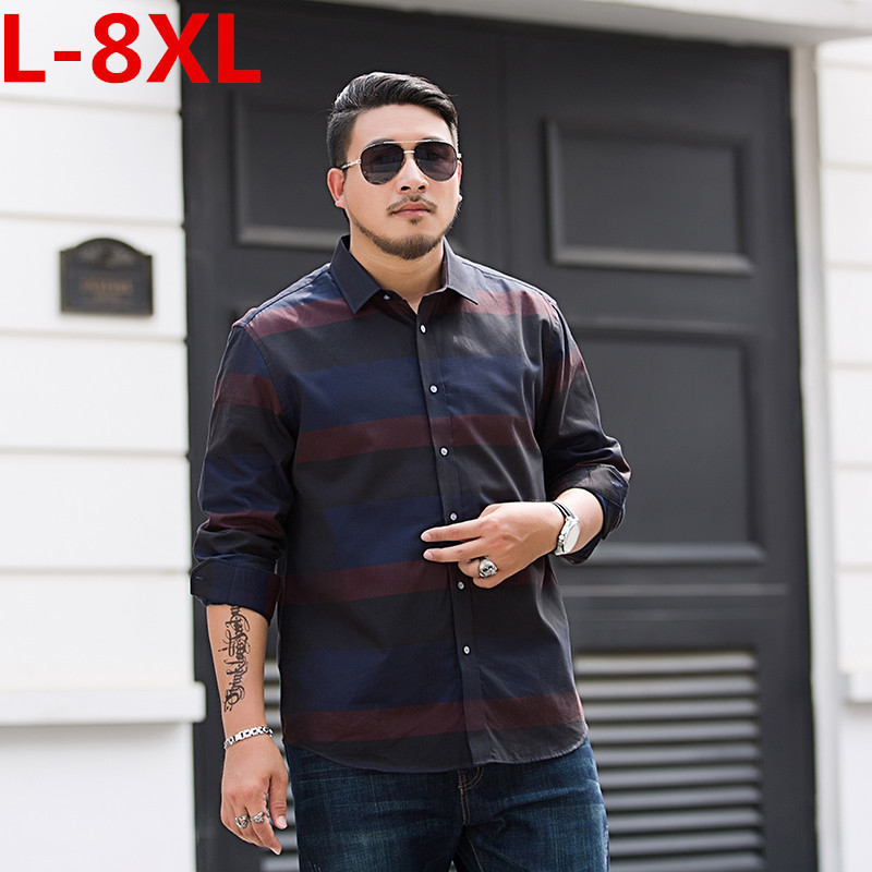 New Plus Size 8XL 7XL 6XL 5XL  New Arrived  Mens Work Shirts Brand Long Sleeve Striped Casual Men Dress Shirts Male Shirts