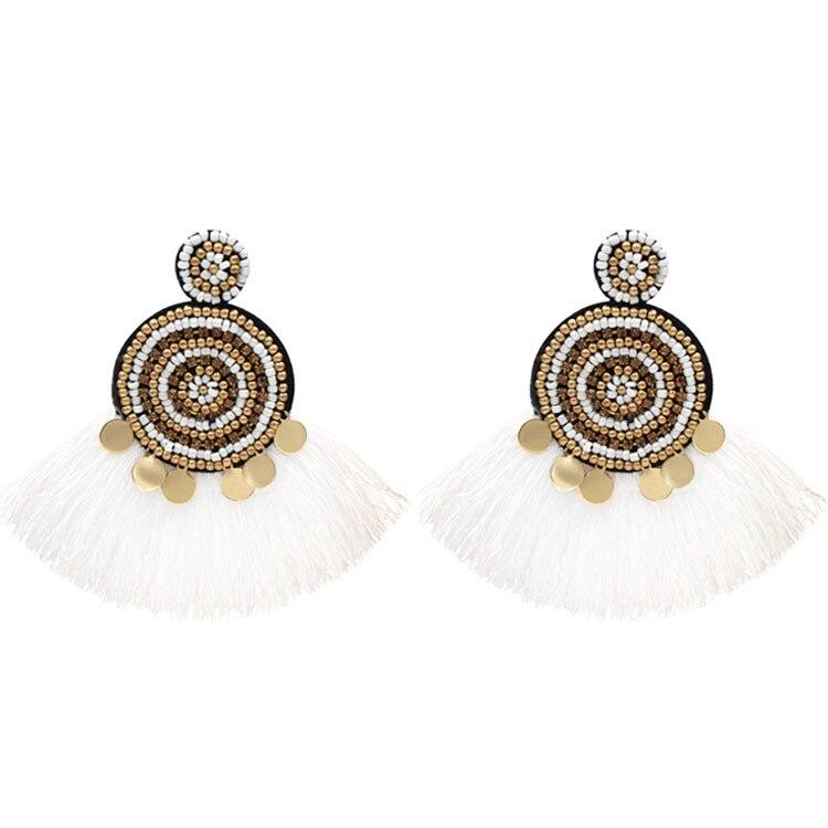 New Fashion Bohemian Tassel Vintage Statement Drop Earrings for Women Red Big Dangle Fringe Earrings 2019 Jewelry Dropshipping in Drop Earrings from Jewelry Accessories