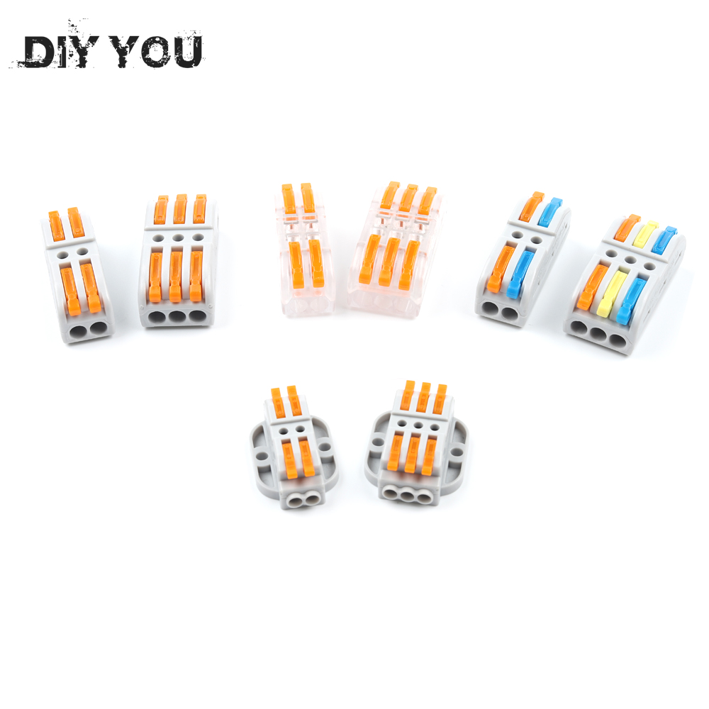 DIY YOU 222 Wire Connector 2/3 Pin SPL-2/3 Cage New Universal Docking Fast Wiring Conductors Terminal Block Electrical Equipment